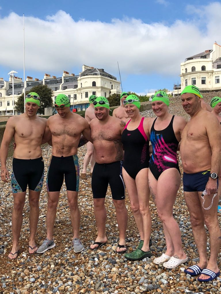 Sarah-Jane with her team on Dover beach