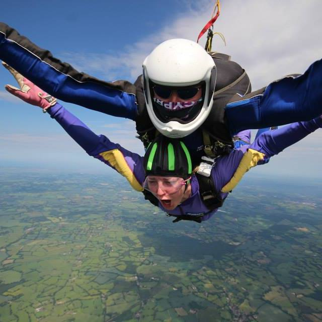 Lucy skydiving close up