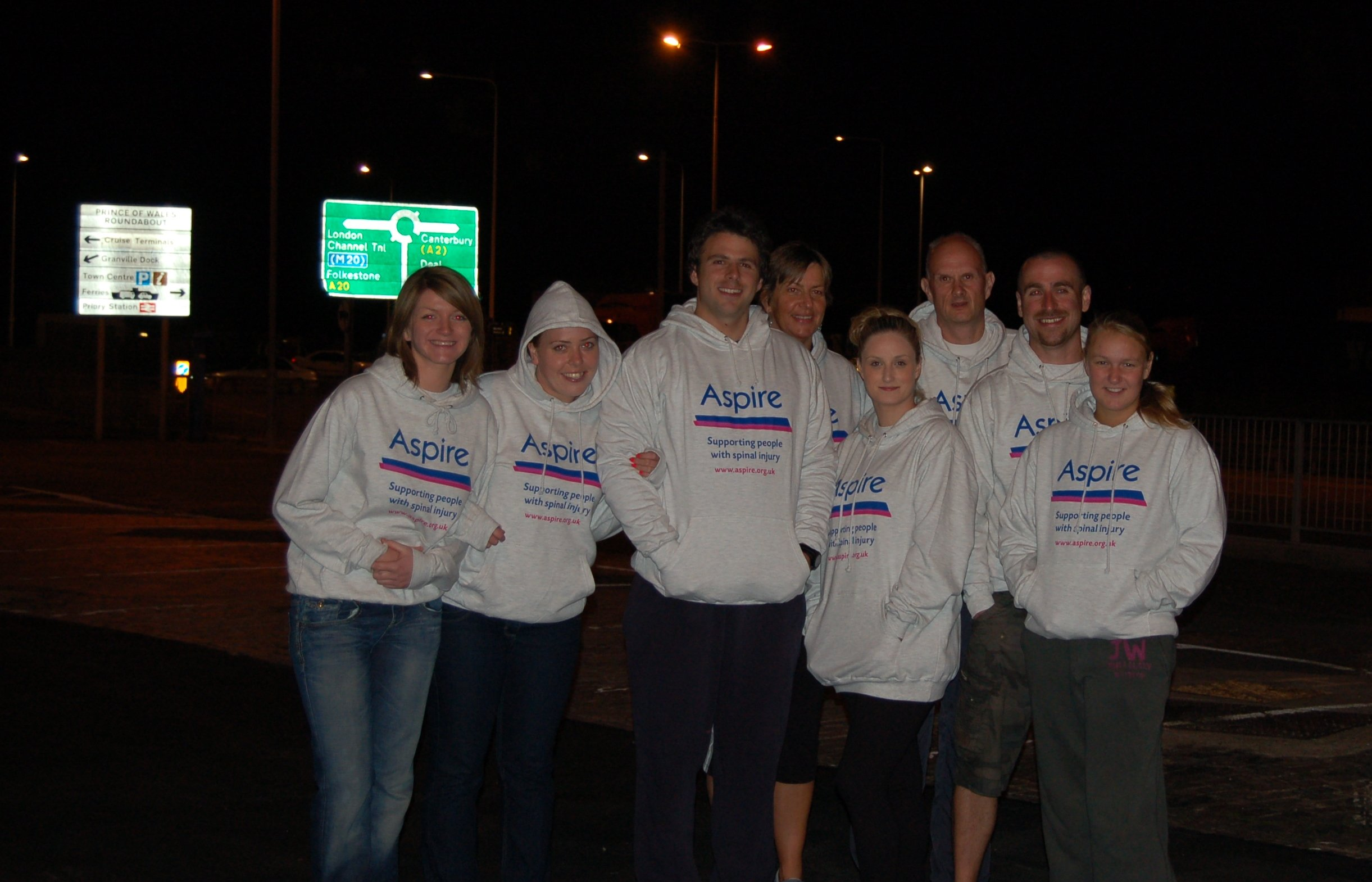 Relay channel swim team at night