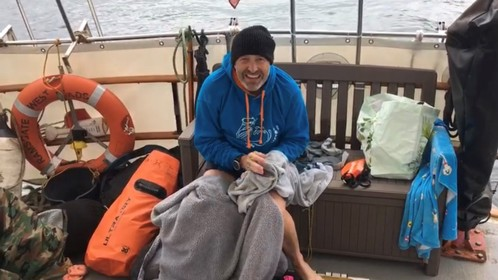 Relay Channel Swimmer Simon on the boat