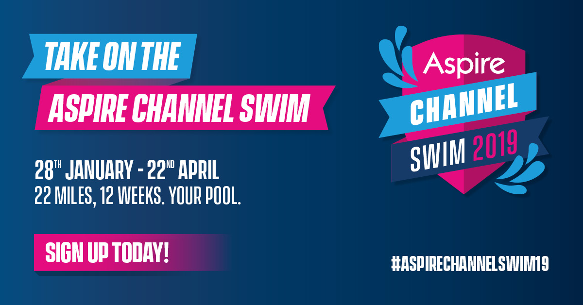 Aspire Channel Swim logos on dark background