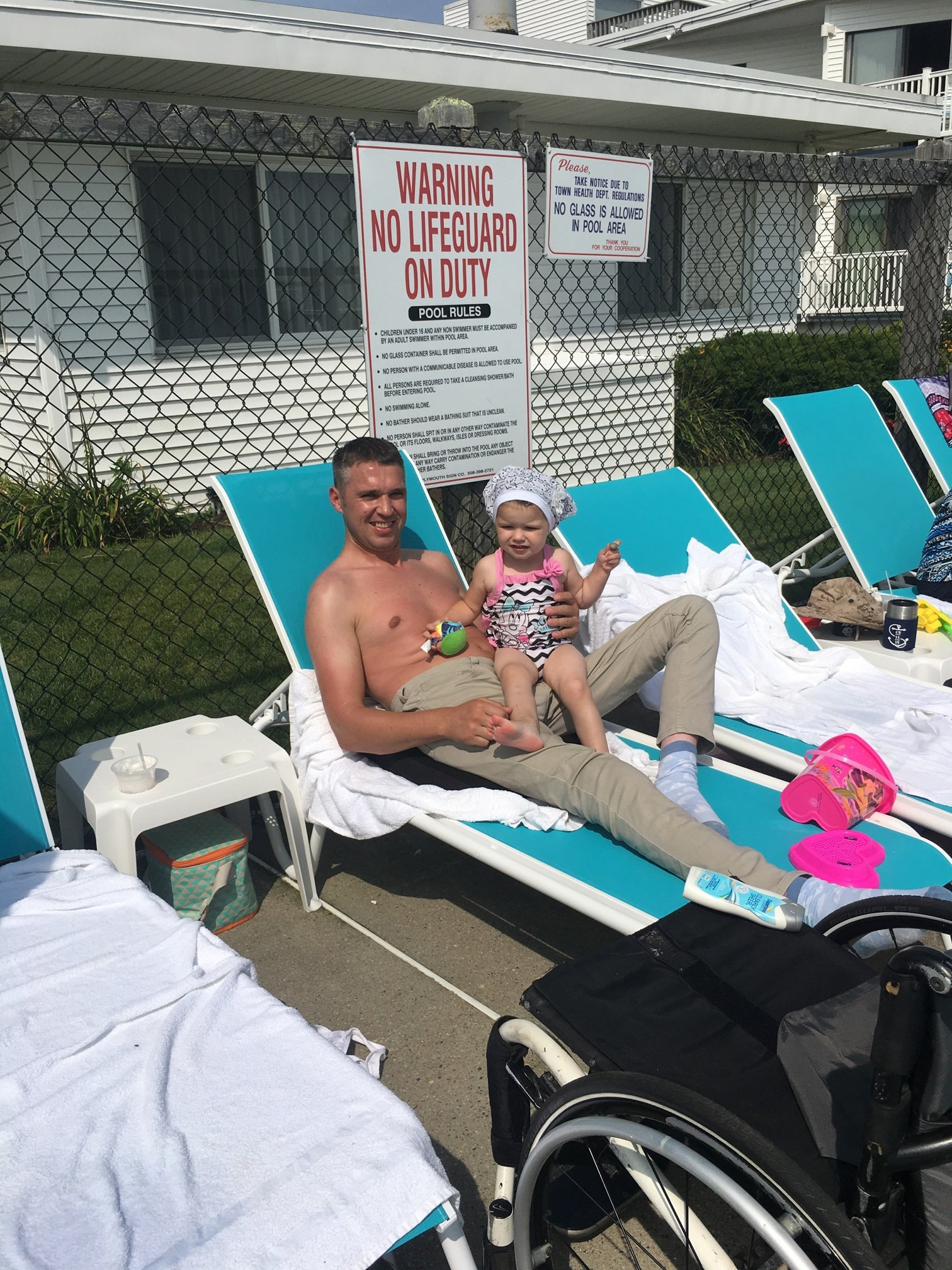 Gabriel and Daughter at the pool