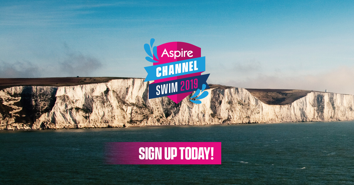 Aspire Channel Swim with the white cliffs of Dover