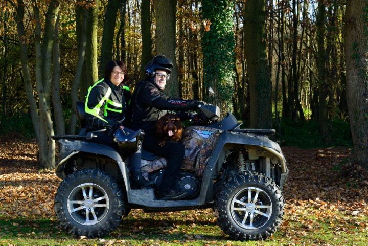 Sarah and Terry on a quad bike