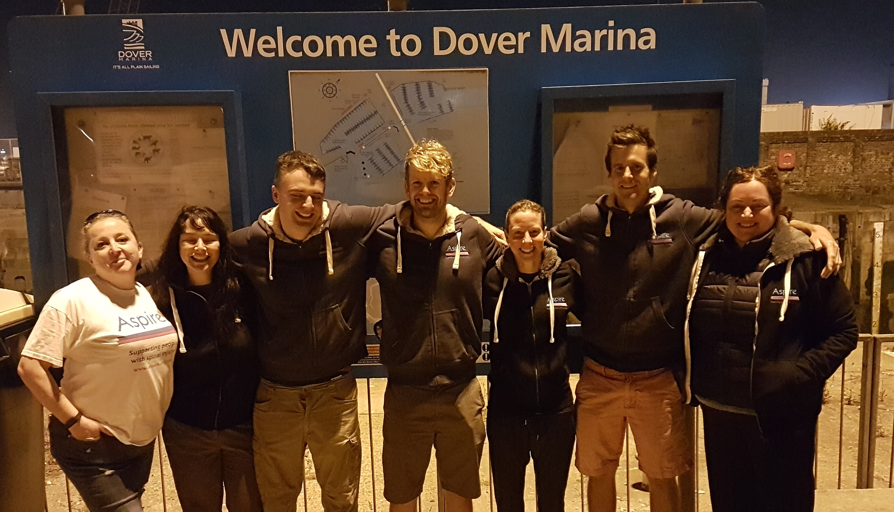 Team Frogfish at Dover Marina ahead of their swim