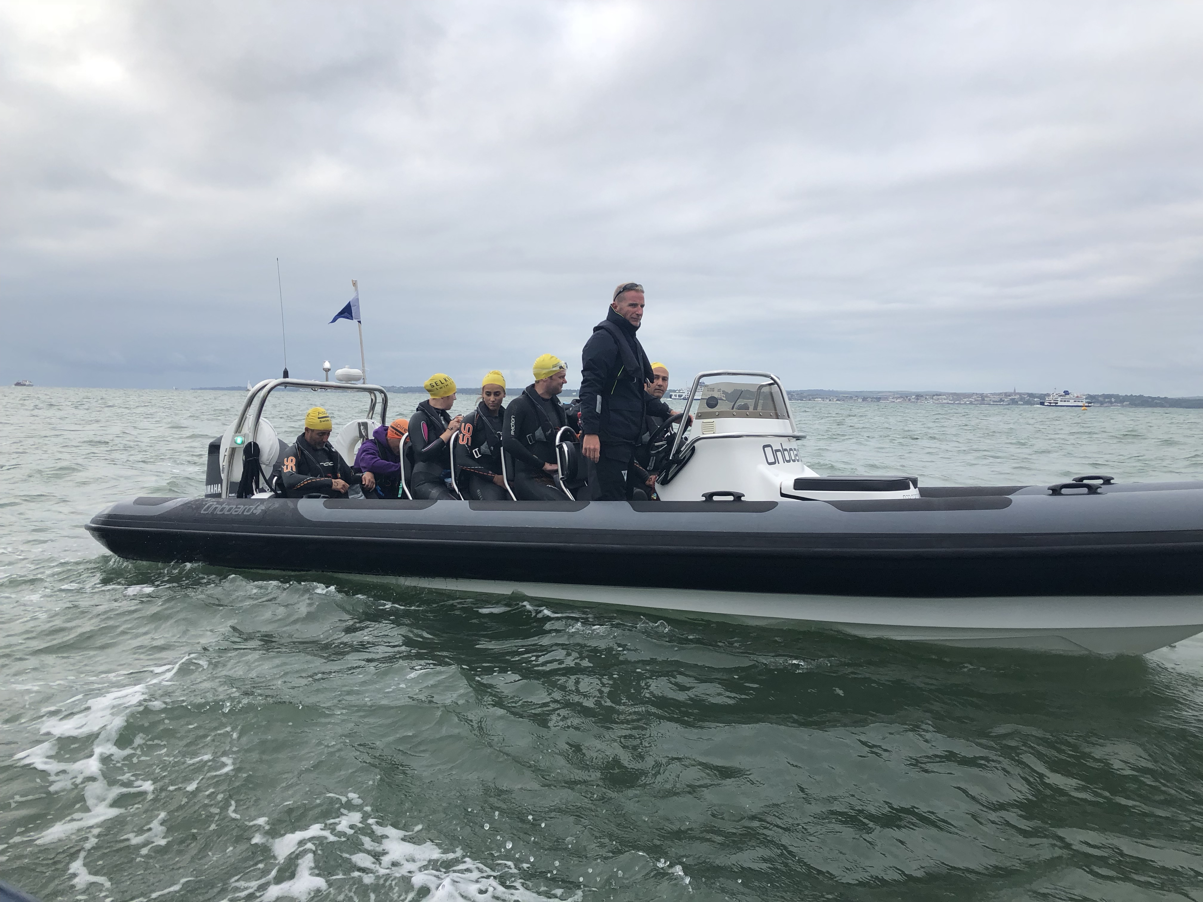Boat nearing Gilkicker with Aspire Solent Swimmers onboard