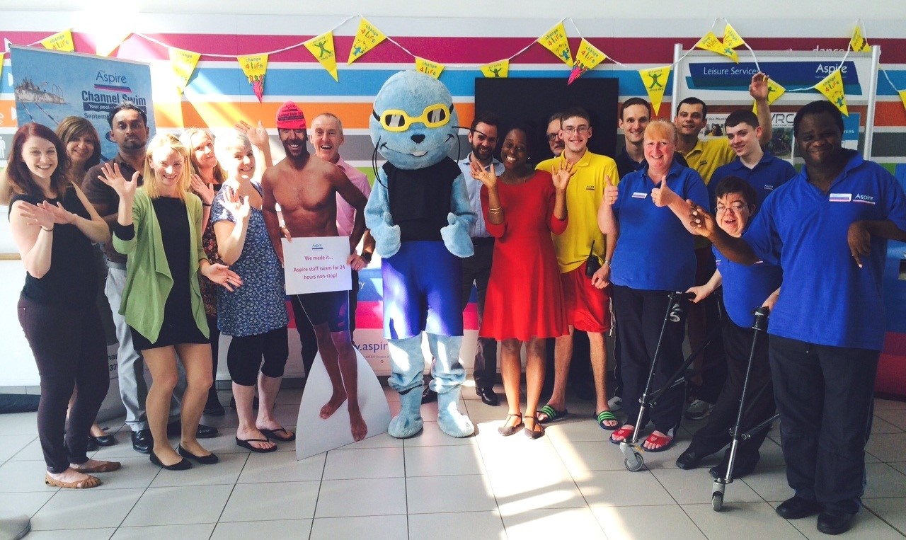 Aspire staff celebrate 24 hour swim
