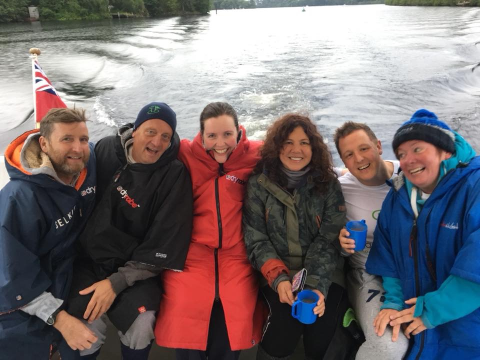 Loch Ness swimmers on the boat
