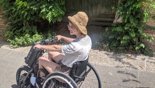 Grace in her wheelchair