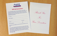 Aspire donation envelopes