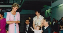 Princess of Wales talking to a family