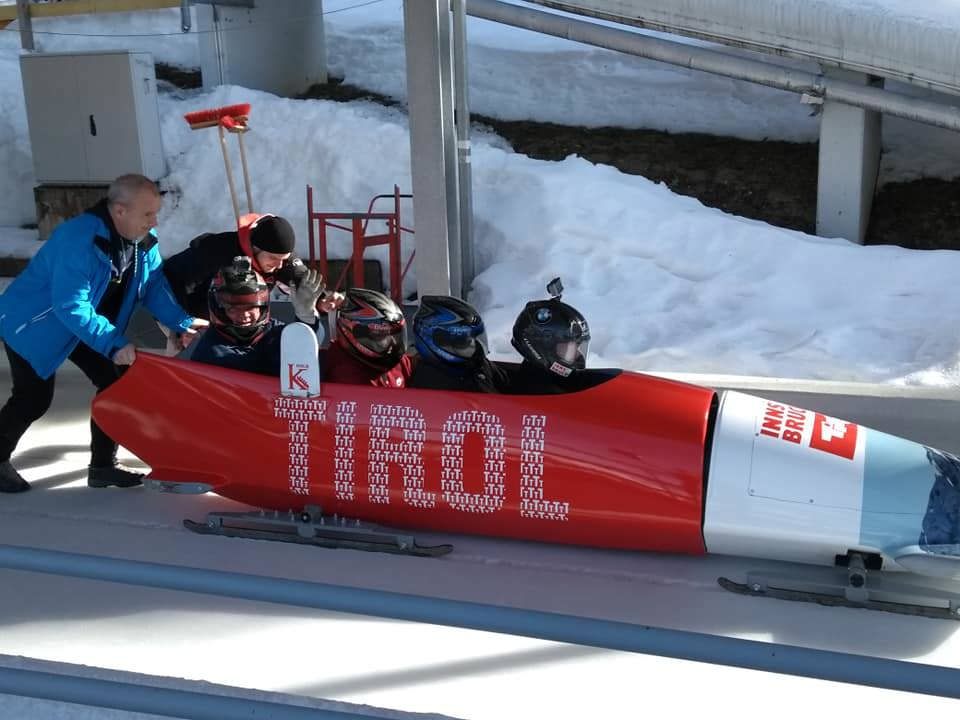 Andy and team in their bobsleigh
