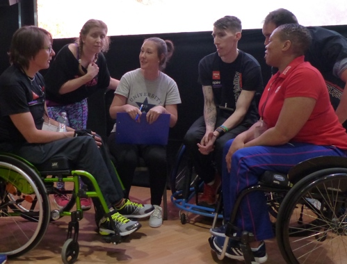 Dr Juliette Stebbings consulting with disabled fitness professionals