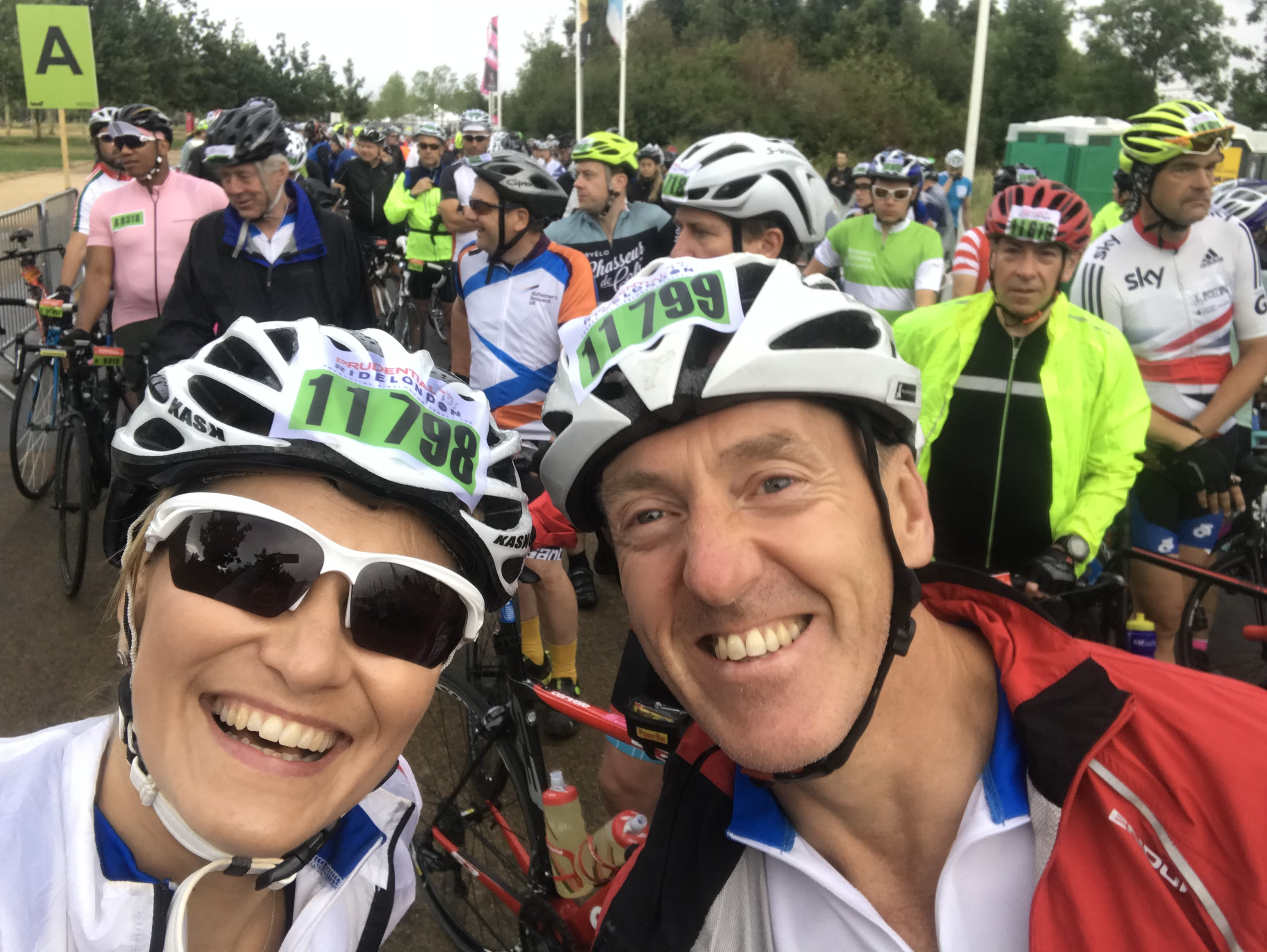 Claire Kremer and Paul Parrish at the start of Ride100