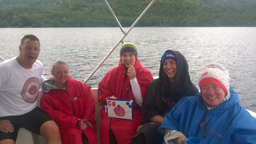Loch Lomond relay team on the boat