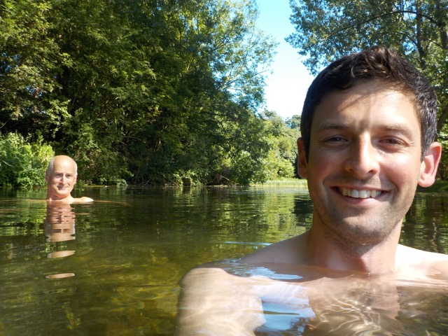 Roger and son swimming the River Wye
