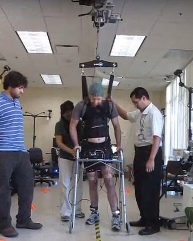 Spinal cord injured man walking in research study