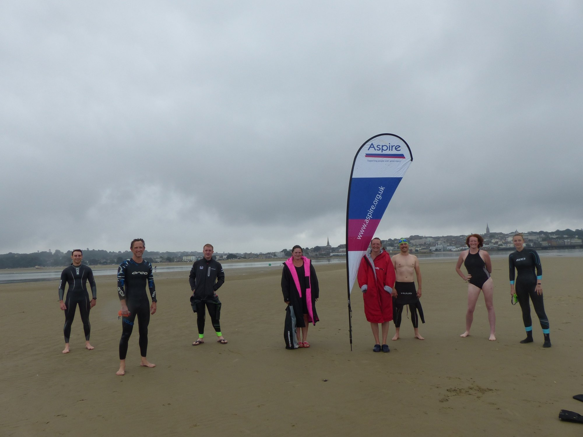 Swimmers on the Isle of Wight after their swim