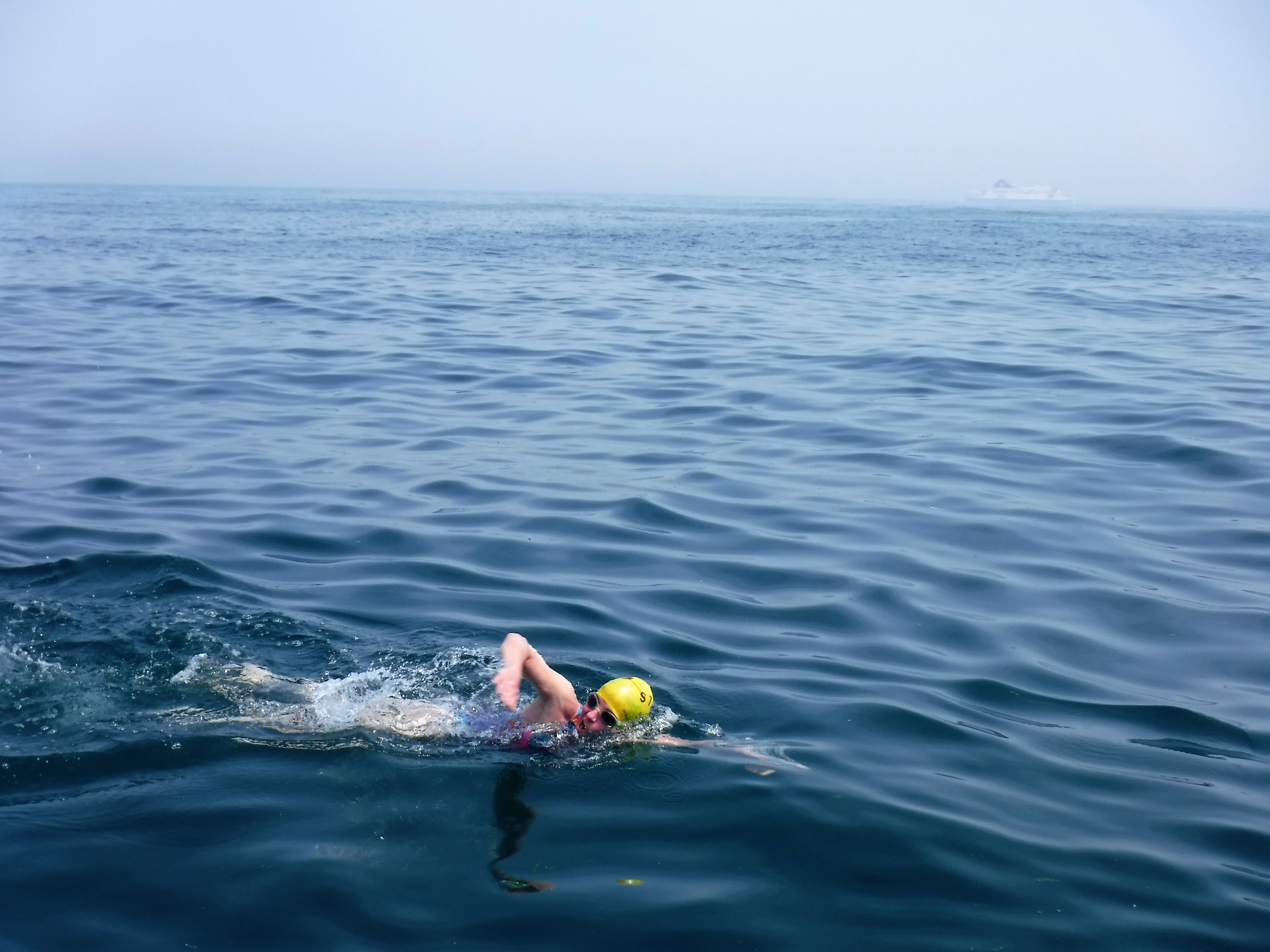 Belinda swimming the Channel