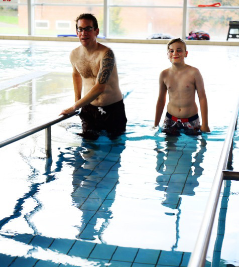 Ethan and Chris in the swimming pool