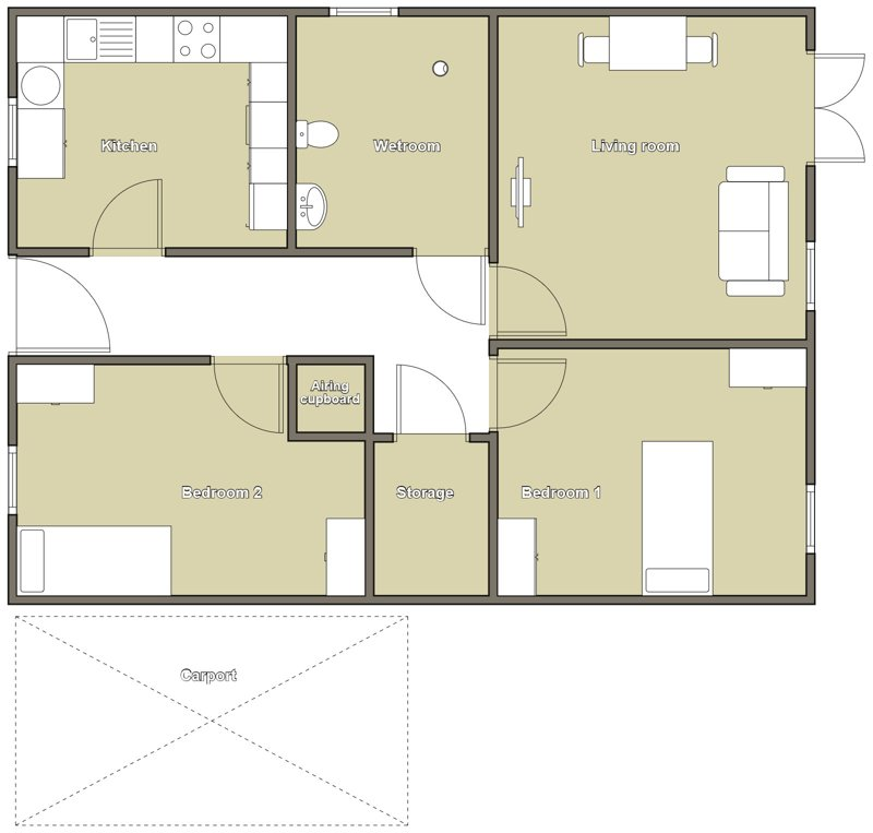 Floor plan of the accessible bungalow in Coventry