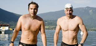 Greg Whyte and David Walliams standing in a lake