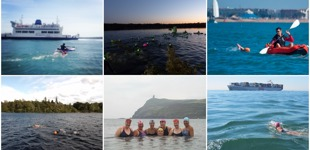 Collage of six open water swims