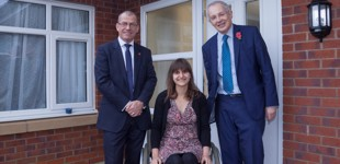 Aspire CEO Brian Carlin, resident Michelle and Councillor Eddy Newman