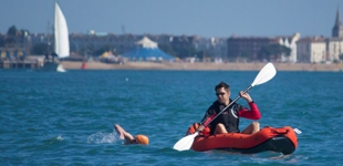 Solent swimmer and kayaker