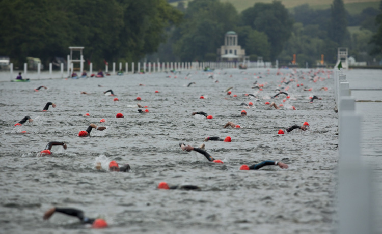 Swimmers along the Henley Classic