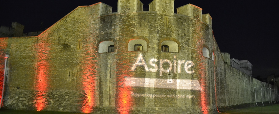 Aspire logo on the Tower of London