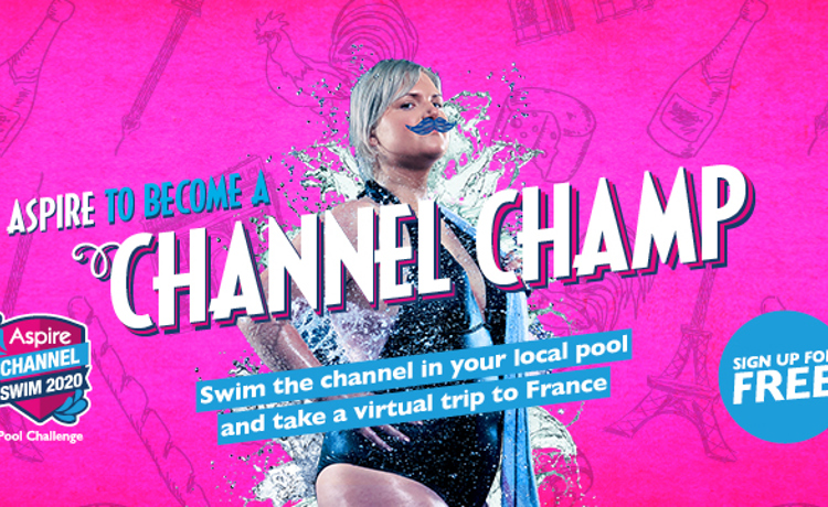Sign up for the Aspire Channel Swim image with woman in swimming costume