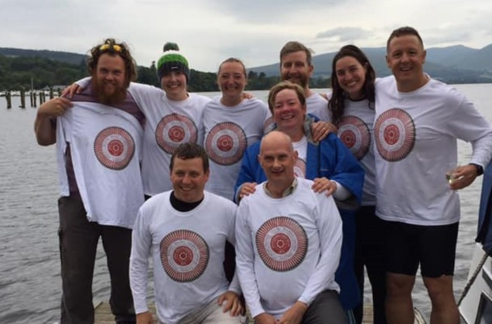Relay team at the end of their Loch Lomond swim