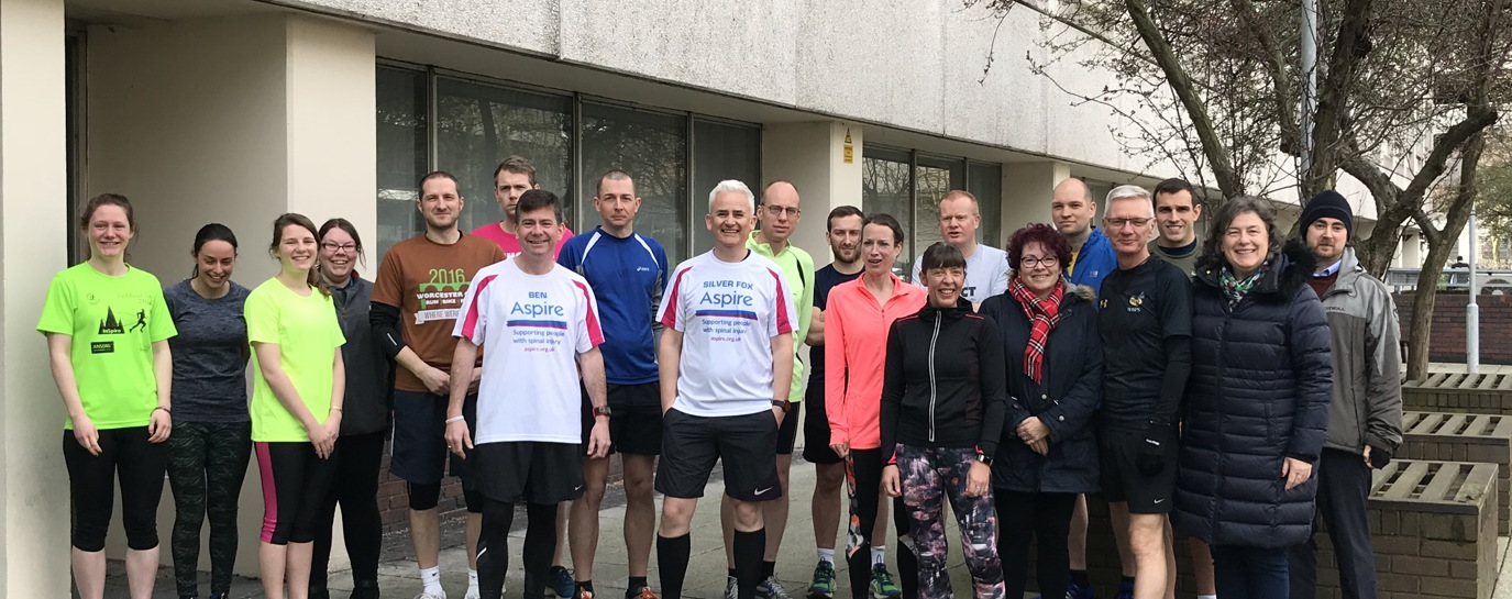 Photo of Philip and Ben with the Atkins team prior to a run