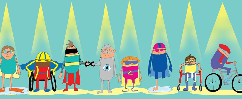 Cartoon figures taking part in triathlon