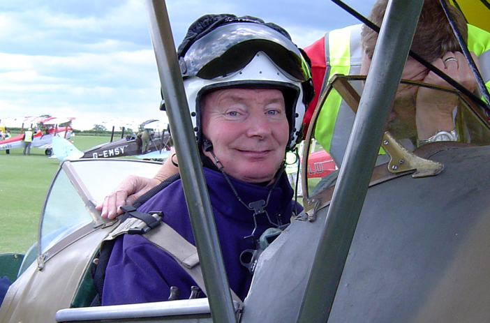 Jerry Ward flying a plane for the first time after his injury