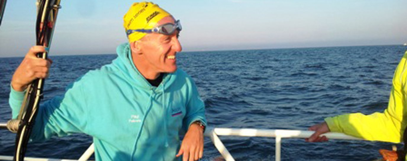 Paul Parrish on a relay channel swim boat
