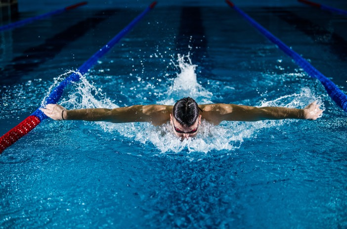 Swimmer in the pool doing butterfly