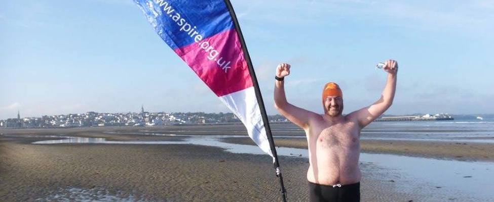 Stephen Bonner completing his Solent swim