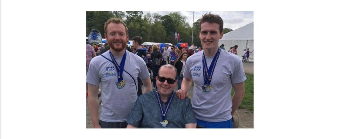 Andrew and Pearce run the Deep RiverRock Belfast Marathon