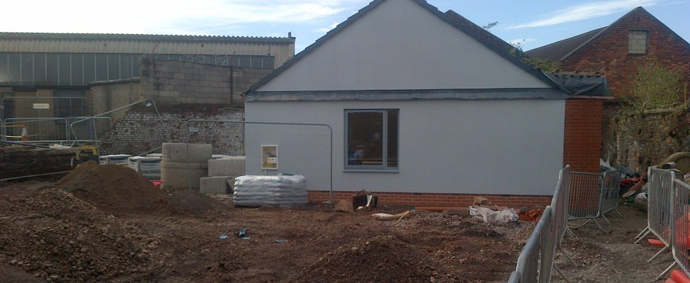 Building work being carried out on a house