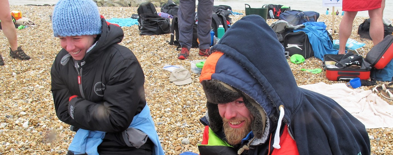 Belinda and her teammate shivering on Dover beach